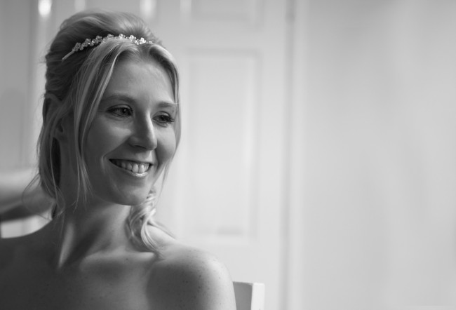 Wedding photography Otley - Bride, black & white