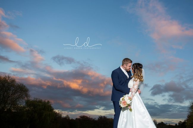 Sunset wedding photograph holiday inn leeds