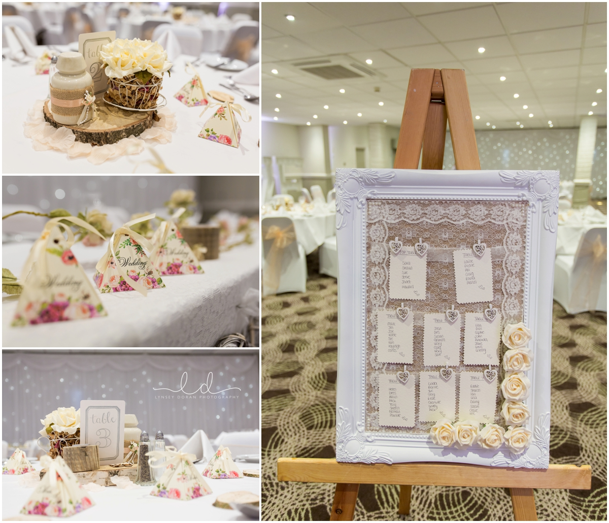 Wedding favours, seating plan and room shots holiday inn weddings