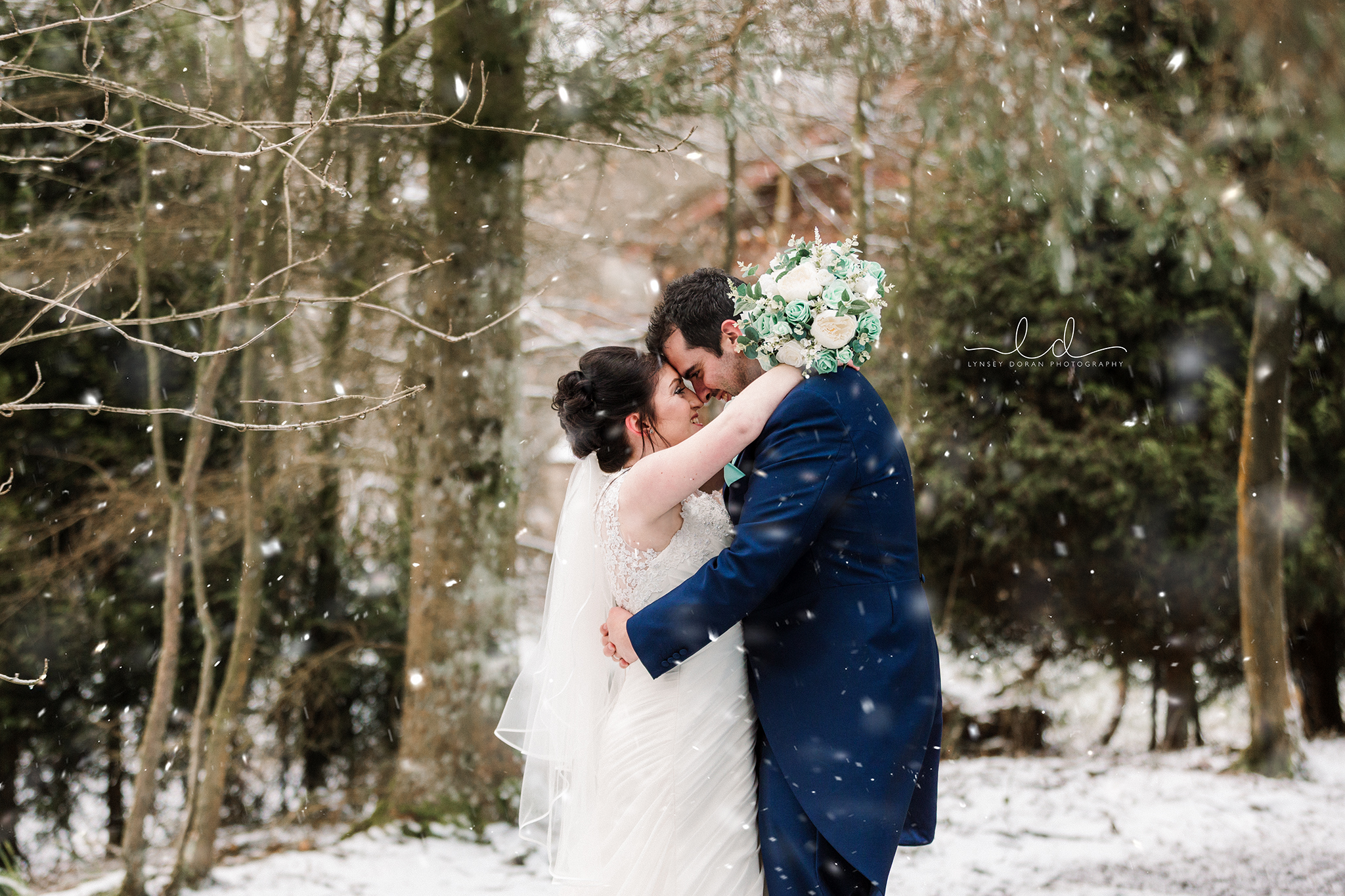 Snowy yorkshire winter wedding photographer